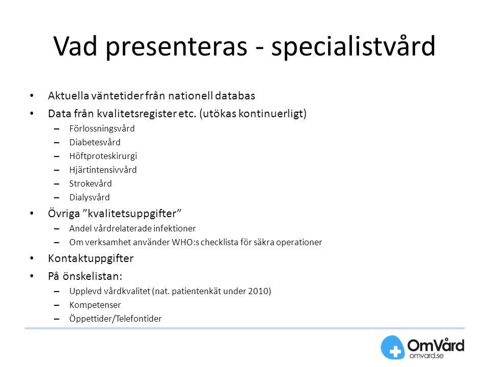 Vad presenteras - specialistvård Aktuella väntetider från nationell databas Data från kvalitetsregister etc. (utökas kontinuerligt) – Förlossningsvård