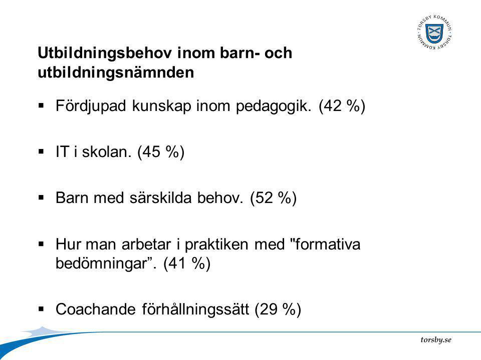 Utbildningsbehov inom barn- och utbildningsnämnden  Fördjupad kunskap inom pedagogik.