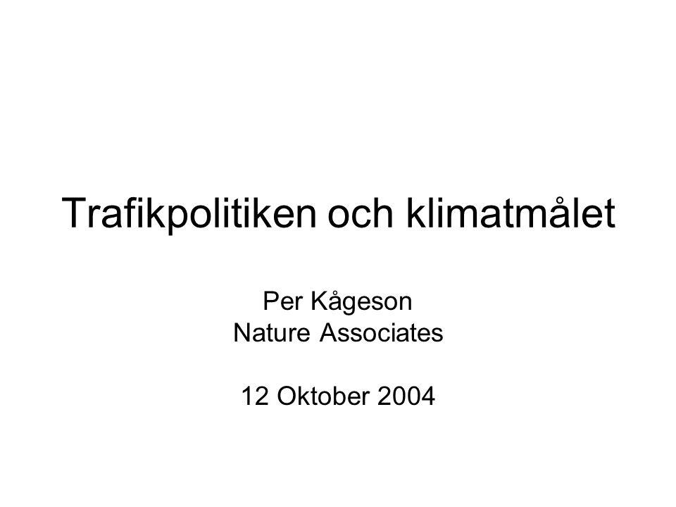 Trafikpolitiken och klimatmålet Per Kågeson Nature Associates 12 Oktober 2004