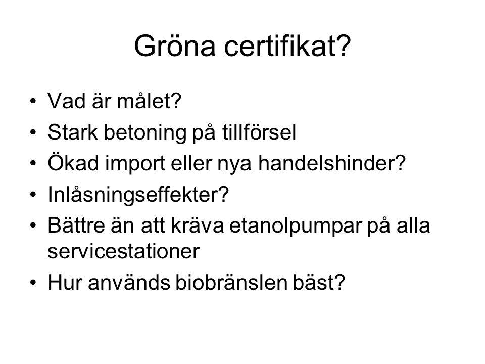 Gröna certifikat. Vad är målet. Stark betoning på tillförsel Ökad import eller nya handelshinder.