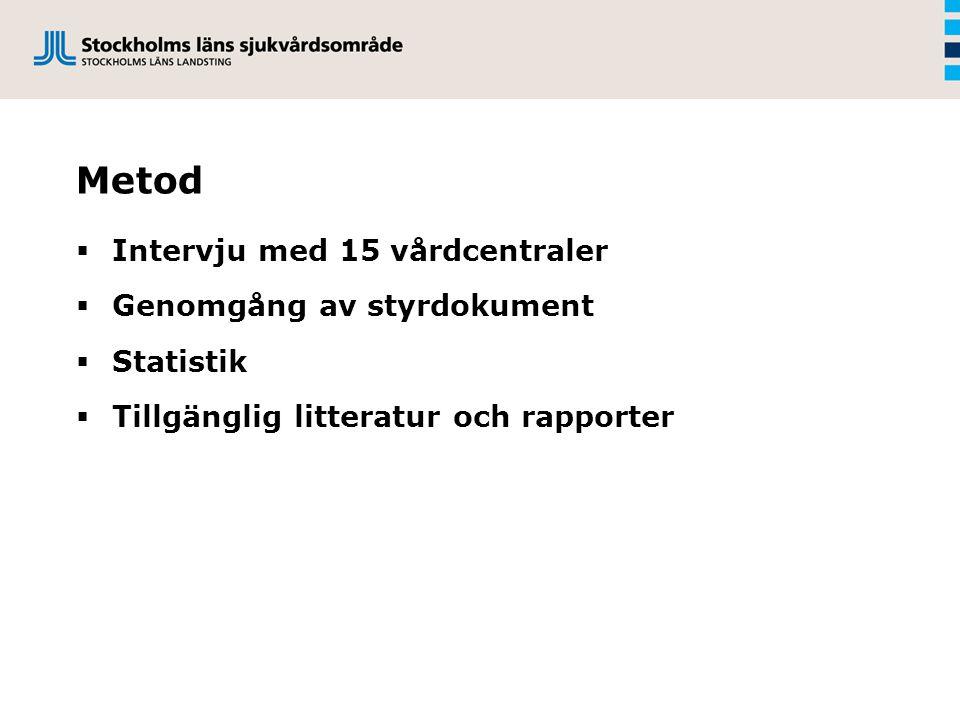 Metod  Intervju med 15 vårdcentraler  Genomgång av styrdokument  Statistik  Tillgänglig litteratur och rapporter
