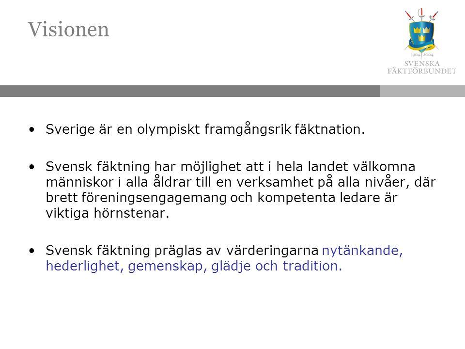 Visionen Sverige är en olympiskt framgångsrik fäktnation. Svensk fäktning har möjlighet att i hela landet välkomna människor i alla åldrar till en ver