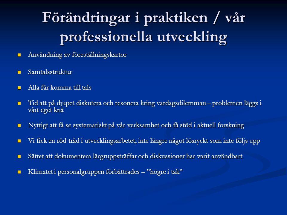 Förändringar i praktiken / vår professionella utveckling Användning av föreställningskartor Användning av föreställningskartor Samtalsstruktur Samtals
