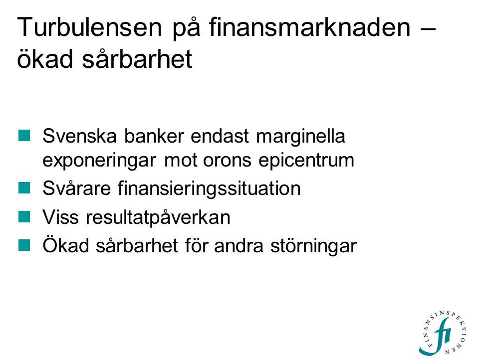 Turbulensen på finansmarknaden – ökad sårbarhet Svenska banker endast marginella exponeringar mot orons epicentrum Svårare finansieringssituation Viss resultatpåverkan Ökad sårbarhet för andra störningar