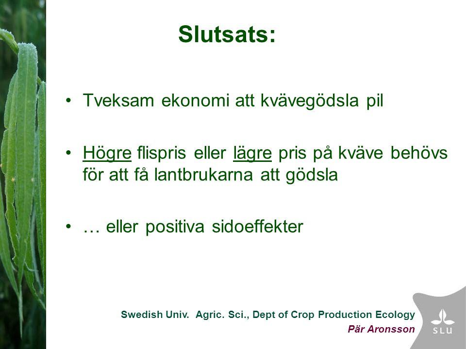 Swedish Univ. Agric. Sci., Dept of Crop Production Ecology Pär Aronsson Slutsats: Tveksam ekonomi att kvävegödsla pil Högre flispris eller lägre pris