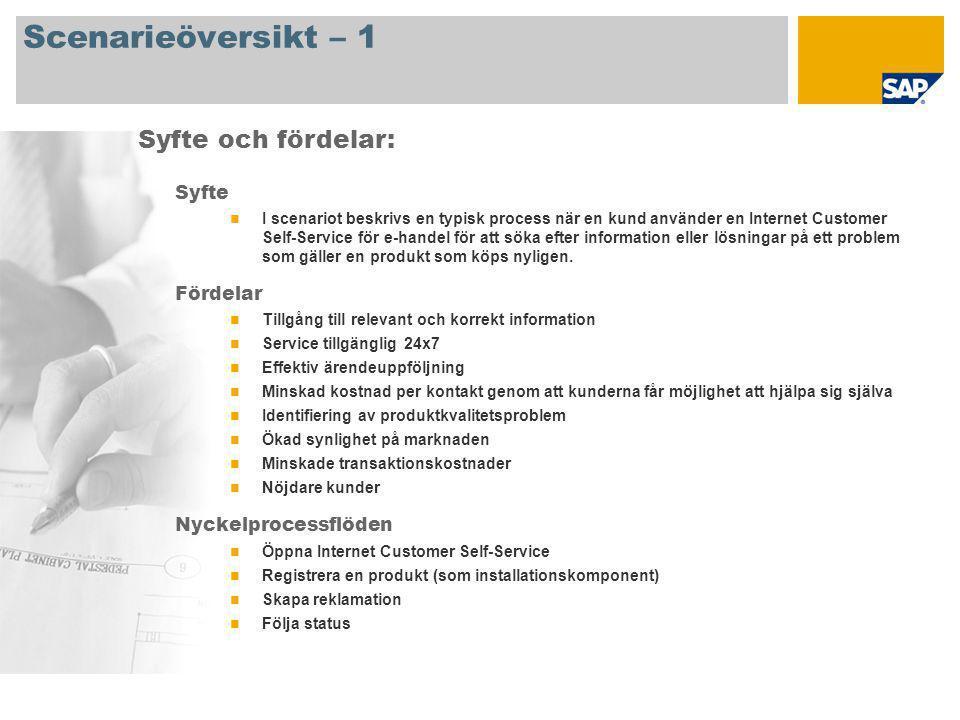 Scenarieöversikt – 2 Krav SAP CRM 2007 Företagsroller som deltar i processflödet Servicemedarbetare SAP-applikationskrav: