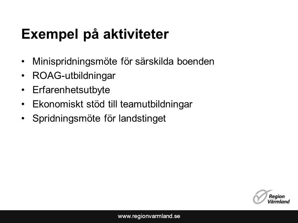 www.regionvarmland.se Exempel på aktiviteter Minispridningsmöte för särskilda boenden ROAG-utbildningar Erfarenhetsutbyte Ekonomiskt stöd till teamutbildningar Spridningsmöte för landstinget