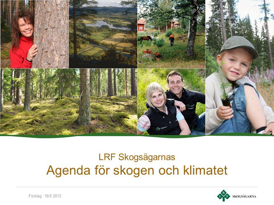 Förslag 10/9 2013 Utgångspunkter Goda förutsättningar för konkurrenskraftig utveckling av skogsbruket, skogsprodukter och bioenergi En sammanhållen politik där förnybara råvaror gynnas