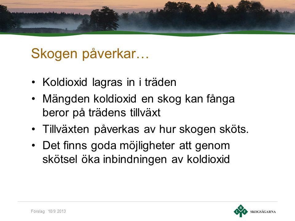 Förslag 10/9 2013 Skogen påverkas… Tillväxten ökar Nya trädslag och provenienser kan användas Vissa skadegörare kan komma att gynnas Drivningsförhållanden blir svårare Värre stormskador pga mindre tjäle Ökad brandrisk