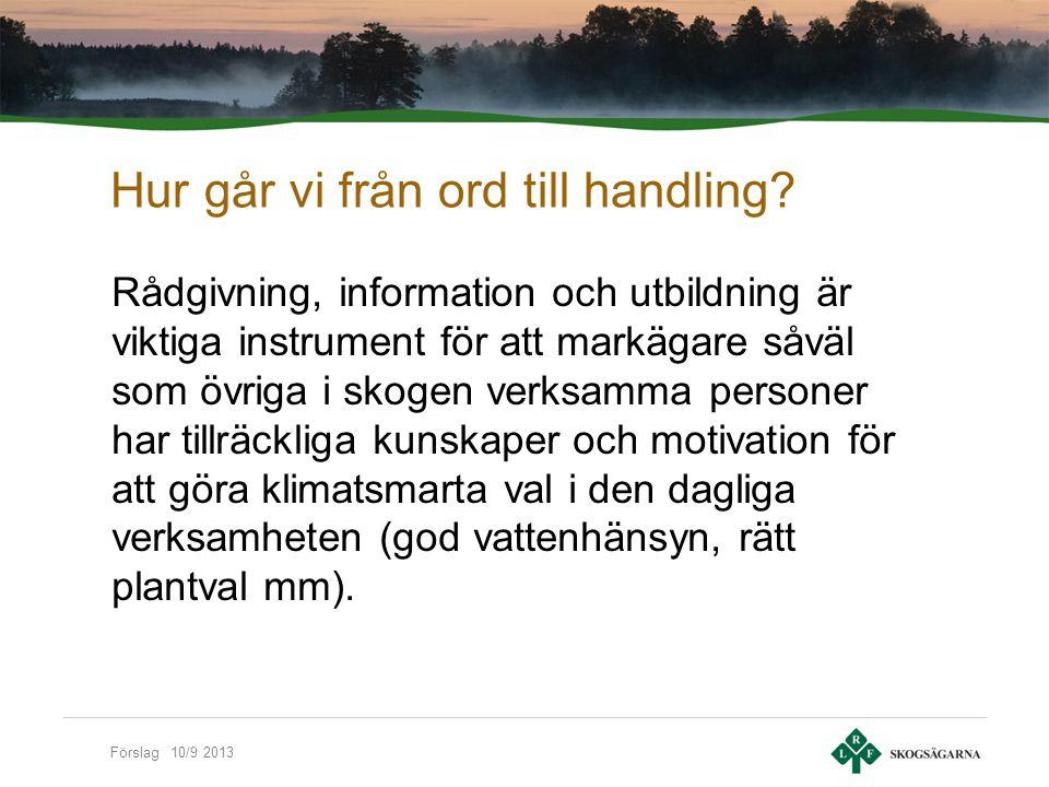 Förslag 10/9 2013 Hur går vi från ord till handling.