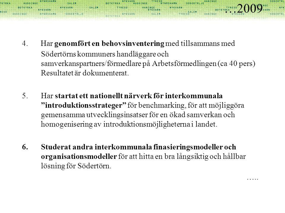 …2009 4. Har genomfört en behovsinventering med tillsammans med Södertörns kommuners handläggare och samverkanspartners/förmedlare på Arbetsförmedling