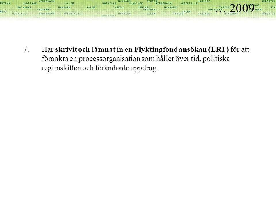 … 2009 7.Har skrivit och lämnat in en Flyktingfond ansökan (ERF) för att förankra en processorganisation som håller över tid, politiska regimskiften o