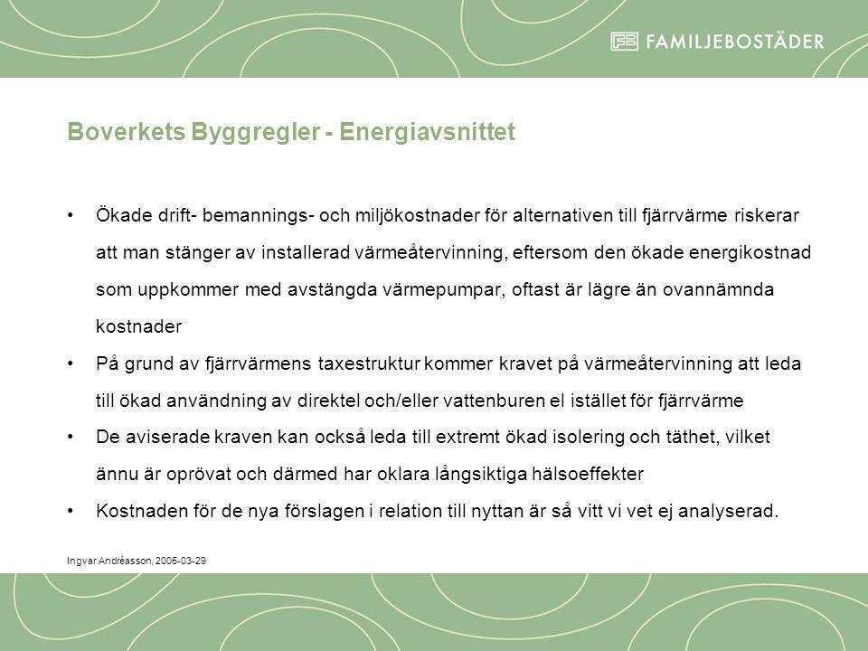 Ingvar Andréasson, 2005-03-29 Boverkets Byggregler - Energiavsnittet Ökade drift- bemannings- och miljökostnader för alternativen till fjärrvärme riskerar att man stänger av installerad värmeåtervinning, eftersom den ökade energikostnad som uppkommer med avstängda värmepumpar, oftast är lägre än ovannämnda kostnader På grund av fjärrvärmens taxestruktur kommer kravet på värmeåtervinning att leda till ökad användning av direktel och/eller vattenburen el istället för fjärrvärme De aviserade kraven kan också leda till extremt ökad isolering och täthet, vilket ännu är oprövat och därmed har oklara långsiktiga hälsoeffekter Kostnaden för de nya förslagen i relation till nyttan är så vitt vi vet ej analyserad.