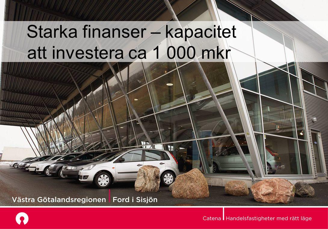 Starka finanser – kapacitet att investera ca 1 000 mkr