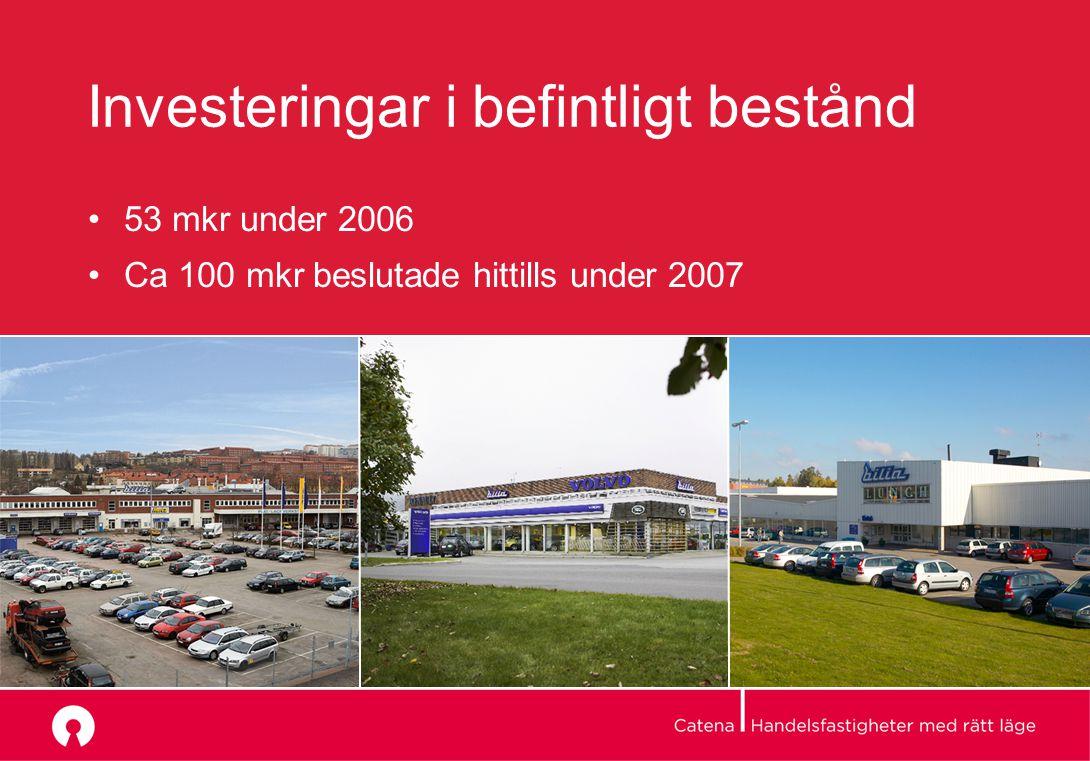 Investeringar i befintligt bestånd 53 mkr under 2006 Ca 100 mkr beslutade hittills under 2007