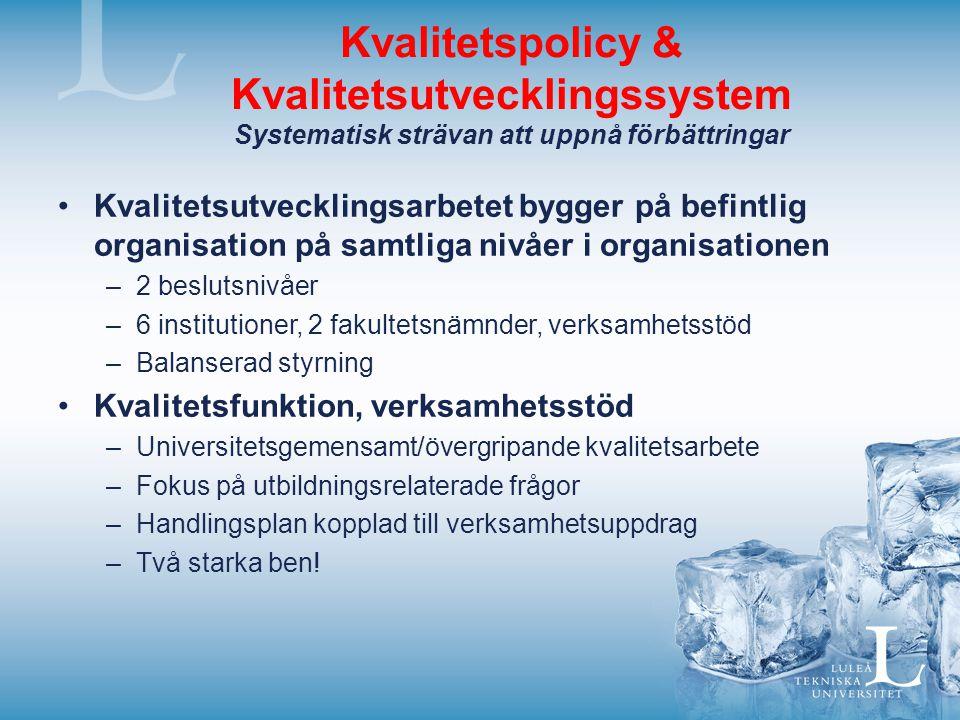 Kvalitetspolicy & Kvalitetsutvecklingssystem Systematisk strävan att uppnå förbättringar Kvalitetsutvecklingsarbetet bygger på befintlig organisation
