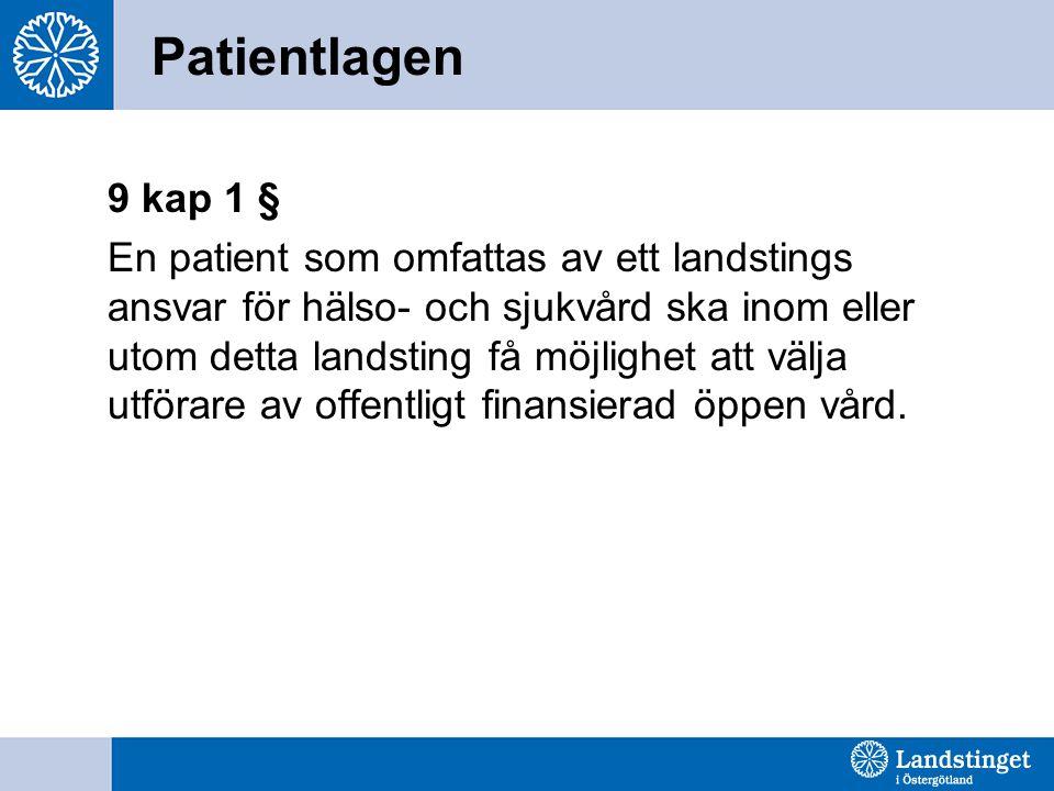 Patientlagen 9 kap 1 § En patient som omfattas av ett landstings ansvar för hälso- och sjukvård ska inom eller utom detta landsting få möjlighet att välja utförare av offentligt finansierad öppen vård.