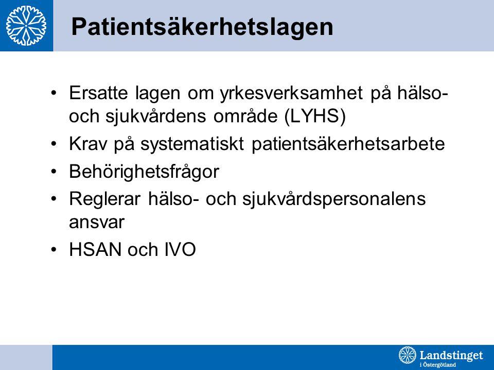 Ersatte lagen om yrkesverksamhet på hälso- och sjukvårdens område (LYHS) Krav på systematiskt patientsäkerhetsarbete Behörighetsfrågor Reglerar hälso- och sjukvårdspersonalens ansvar HSAN och IVO