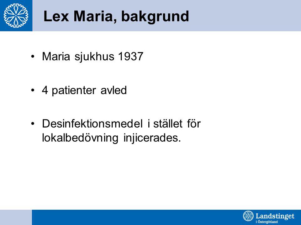 Lex Maria, bakgrund Maria sjukhus 1937 4 patienter avled Desinfektionsmedel i stället för lokalbedövning injicerades.