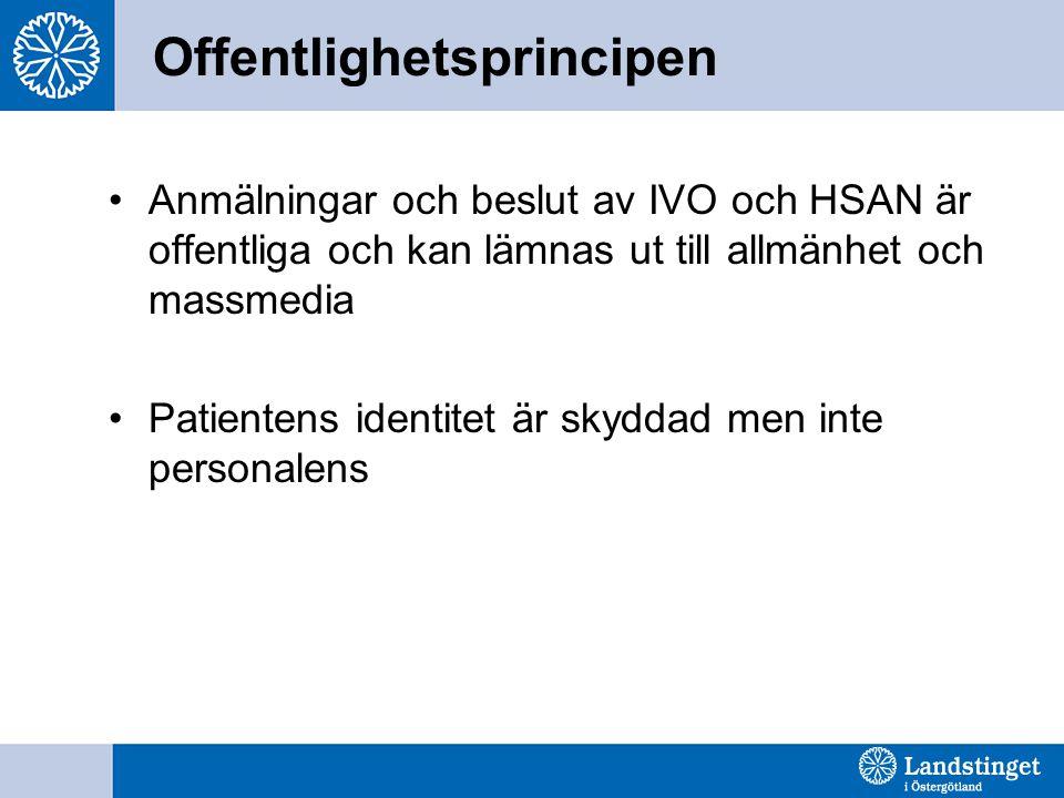 Offentlighetsprincipen Anmälningar och beslut av IVO och HSAN är offentliga och kan lämnas ut till allmänhet och massmedia Patientens identitet är skyddad men inte personalens