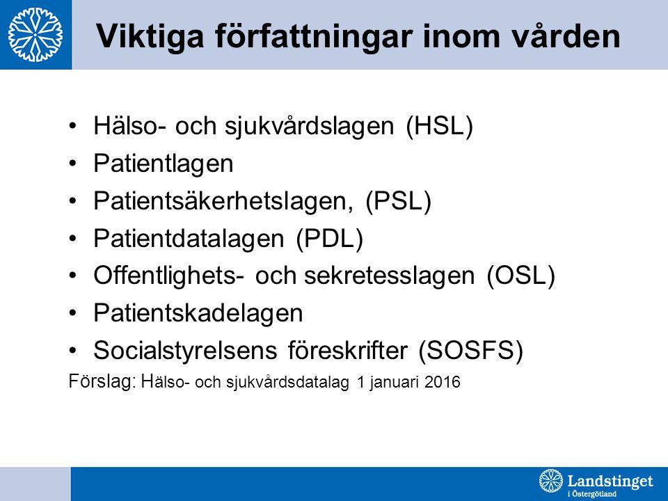 Viktiga författningar inom vården Hälso- och sjukvårdslagen (HSL) Patientlagen Patientsäkerhetslagen, (PSL) Patientdatalagen (PDL) Offentlighets- och sekretesslagen (OSL) Patientskadelagen Socialstyrelsens föreskrifter (SOSFS) Förslag: H älso- och sjukvårdsdatalag 1 januari 2016