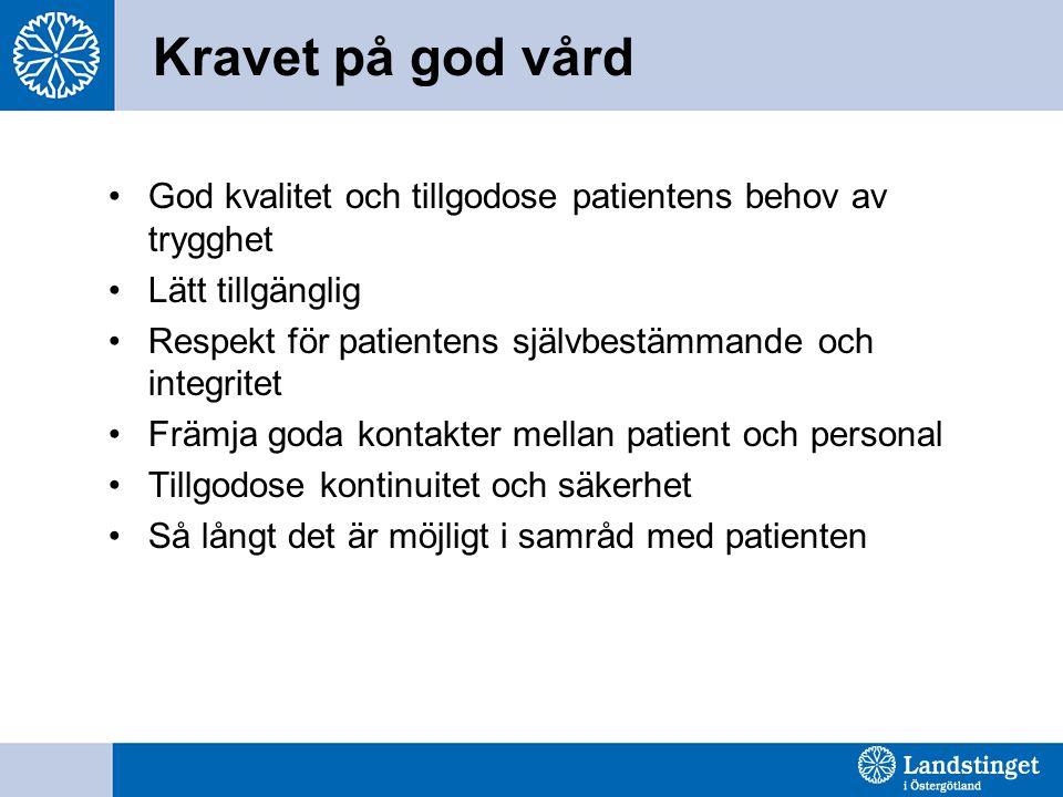 Kravet på god vård God kvalitet och tillgodose patientens behov av trygghet Lätt tillgänglig Respekt för patientens självbestämmande och integritet Fr