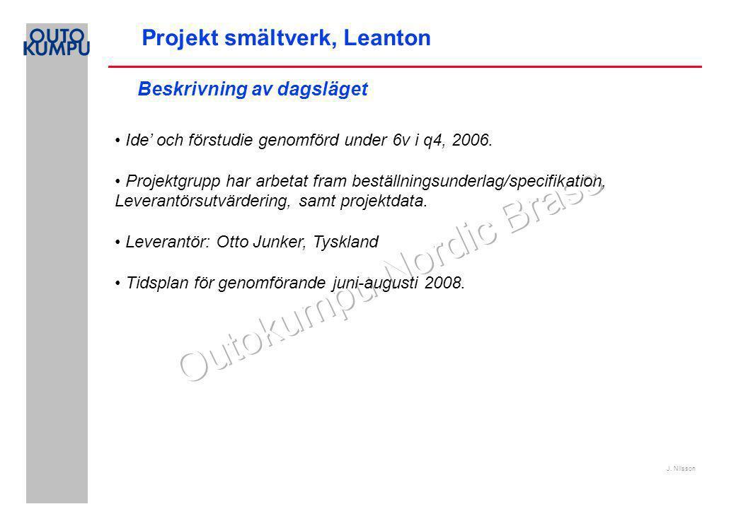 J. Nilsson Projekt smältverk, Leanton Ide' och förstudie genomförd under 6v i q4, 2006.