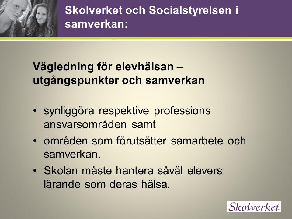Skolverket och Socialstyrelsen i samverkan: Vägledning för elevhälsan – utgångspunkter och samverkan synliggöra respektive professions ansvarsområden