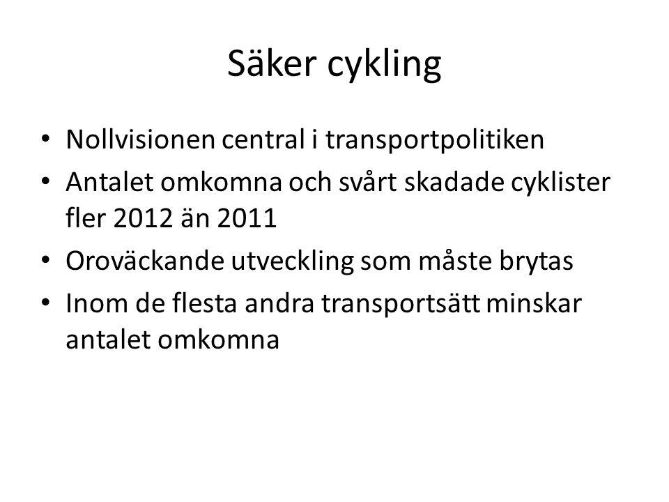 Säker cykling Nollvisionen central i transportpolitiken Antalet omkomna och svårt skadade cyklister fler 2012 än 2011 Oroväckande utveckling som måste brytas Inom de flesta andra transportsätt minskar antalet omkomna