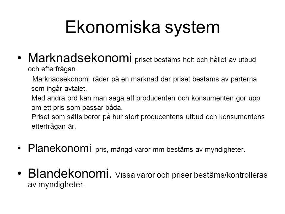 Ekonomiska system Marknadsekonomi priset bestäms helt och hållet av utbud och efterfrågan. Marknadsekonomi råder på en marknad där priset bestäms av p