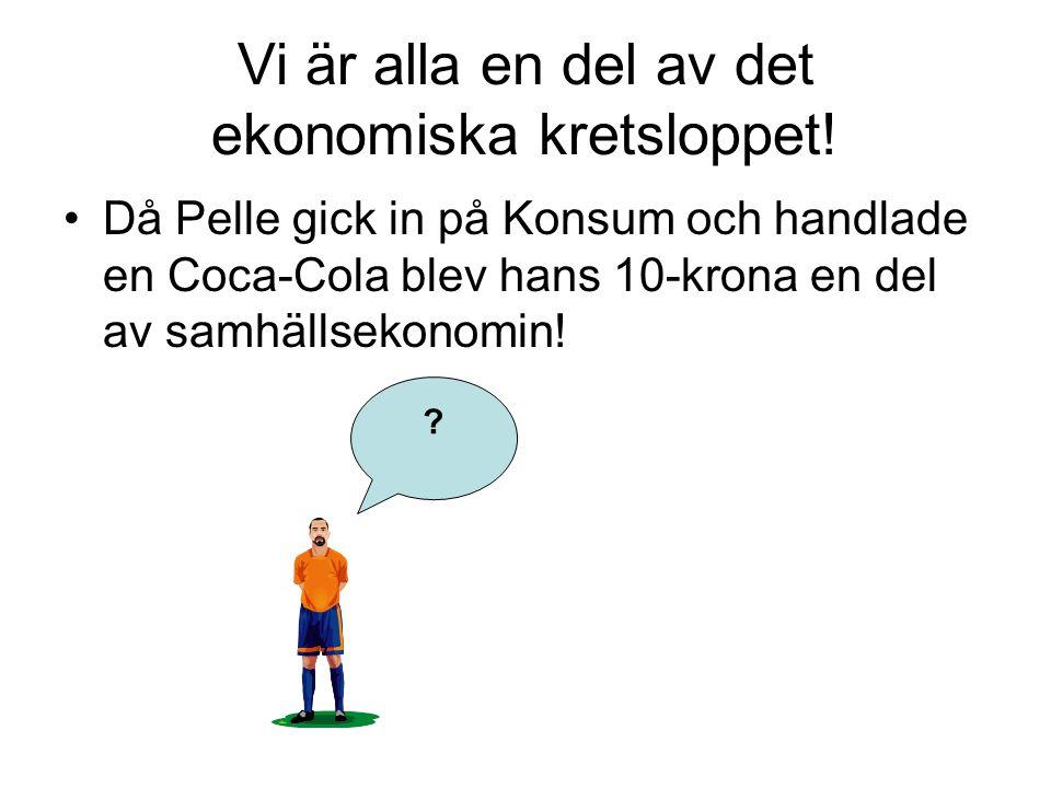 Vi är alla en del av det ekonomiska kretsloppet! Då Pelle gick in på Konsum och handlade en Coca-Cola blev hans 10-krona en del av samhällsekonomin! ?