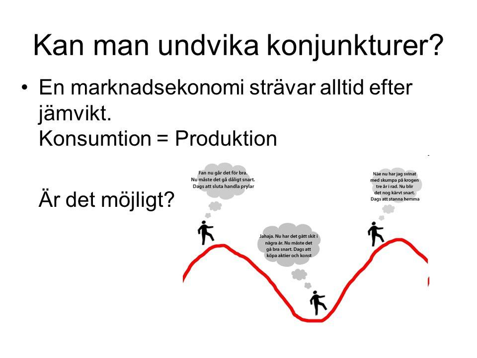 Kan man undvika konjunkturer? En marknadsekonomi strävar alltid efter jämvikt. Konsumtion = Produktion Är det möjligt?