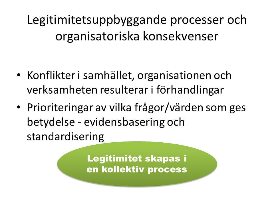 Legitimitetsuppbyggande processer och organisatoriska konsekvenser Konflikter i samhället, organisationen och verksamheten resulterar i förhandlingar Prioriteringar av vilka frågor/värden som ges betydelse - evidensbasering och standardisering Legitimitet skapas i en kollektiv process