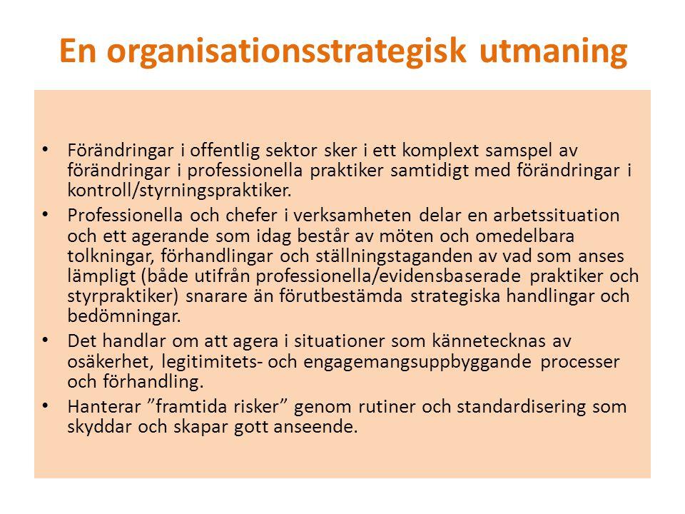 En organisationsstrategisk utmaning Förändringar i offentlig sektor sker i ett komplext samspel av förändringar i professionella praktiker samtidigt med förändringar i kontroll/styrningspraktiker.
