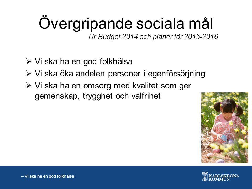 Övergripande sociala mål  Vi ska ha en god folkhälsa  Vi ska öka andelen personer i egenförsörjning  Vi ska ha en omsorg med kvalitet som ger gemen