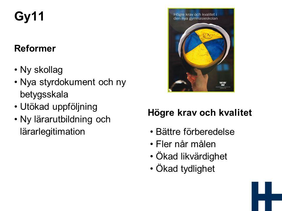 Gy11 Reformer Ny skollag Nya styrdokument och ny betygsskala Utökad uppföljning Ny lärarutbildning och lärarlegitimation Högre krav och kvalitet Bättr