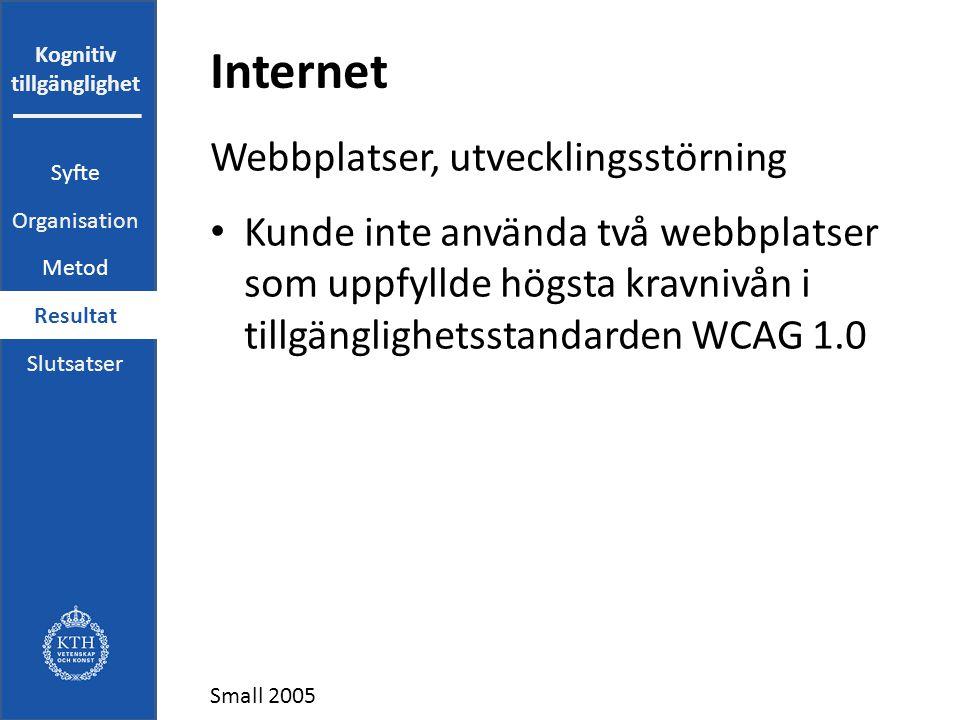 Kognitiv tillgänglighet Internet Webbplatser, utvecklingsstörning Kunde inte använda två webbplatser som uppfyllde högsta kravnivån i tillgänglighetsstandarden WCAG 1.0 Small 2005 Syfte Organisation Metod Resultat Slutsatser