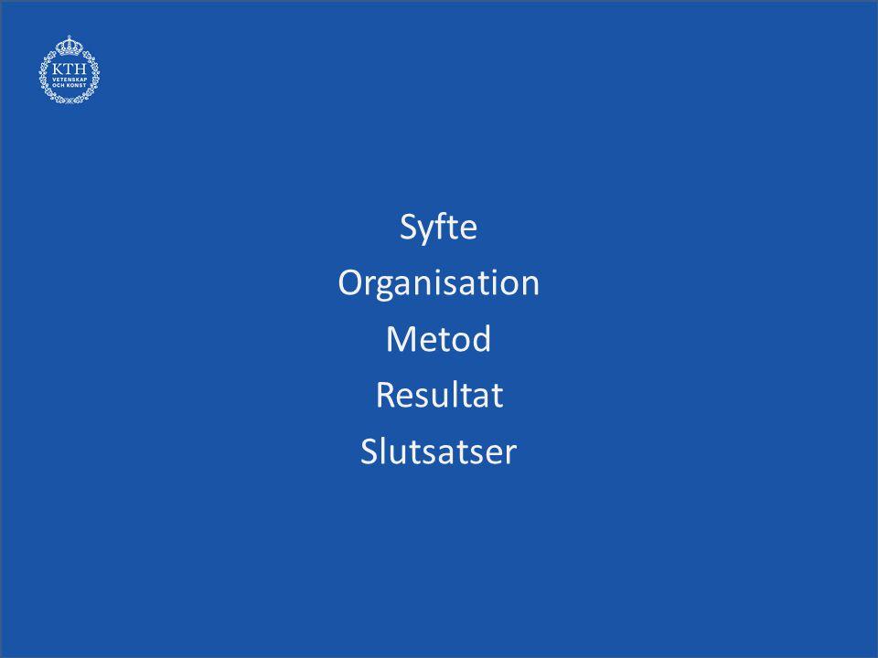 Syfte Organisation Metod Resultat Slutsatser