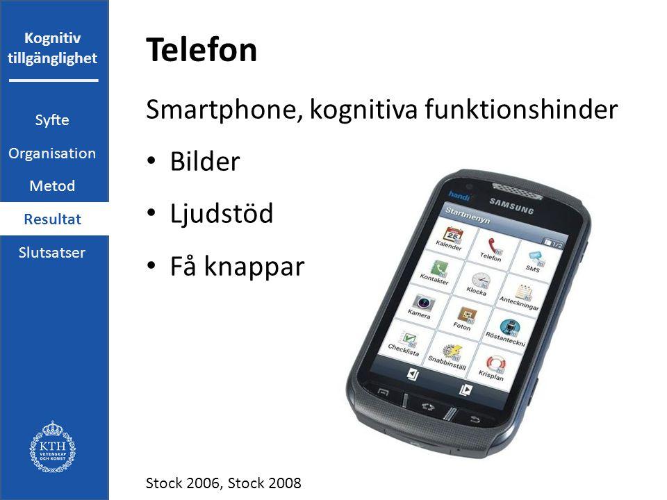 Kognitiv tillgänglighet Telefon Smartphone, kognitiva funktionshinder Bilder Ljudstöd Få knappar Stock 2006, Stock 2008 Syfte Organisation Metod Resultat Slutsatser