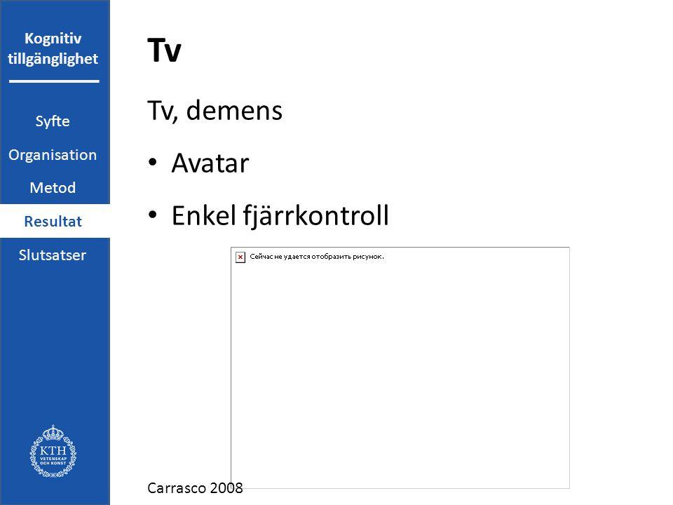 Kognitiv tillgänglighet Tv Tv, demens Avatar Enkel fjärrkontroll Carrasco 2008 Syfte Organisation Metod Resultat Slutsatser