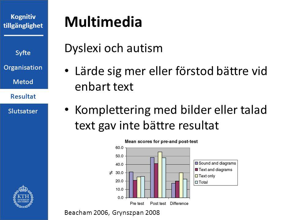 Kognitiv tillgänglighet Multimedia Dyslexi och autism Lärde sig mer eller förstod bättre vid enbart text Komplettering med bilder eller talad text gav inte bättre resultat Beacham 2006, Grynszpan 2008 Syfte Organisation Metod Resultat Slutsatser