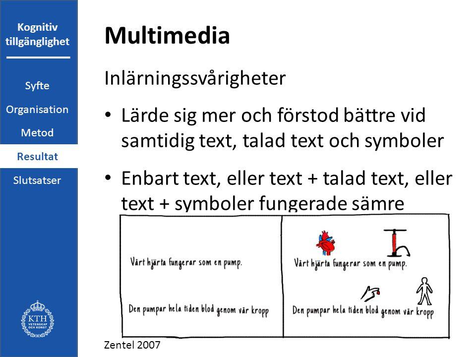 Kognitiv tillgänglighet Multimedia Inlärningssvårigheter Lärde sig mer och förstod bättre vid samtidig text, talad text och symboler Enbart text, eller text + talad text, eller text + symboler fungerade sämre Zentel 2007 Syfte Organisation Metod Resultat Slutsatser