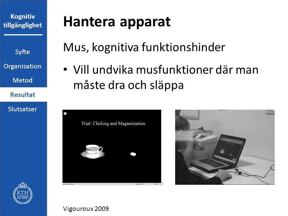 Kognitiv tillgänglighet Hantera apparat Mus, kognitiva funktionshinder Vill undvika musfunktioner där man måste dra och släppa Vigouroux 2009 Syfte Organisation Metod Resultat Slutsatser