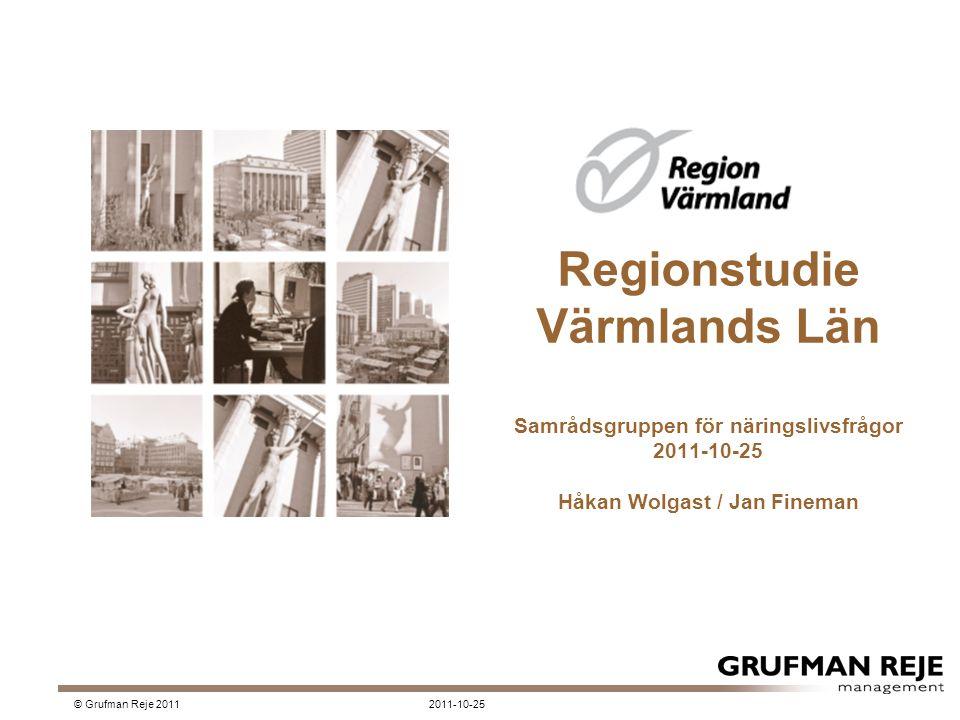 Regionstudie Värmlands Län Samrådsgruppen för näringslivsfrågor 2011-10-25 Håkan Wolgast / Jan Fineman 2011-10-25© Grufman Reje 2011