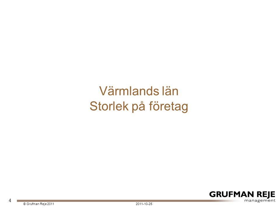 2011-10-25© Grufman Reje 2011 Värmlands län Storlek på företag 4
