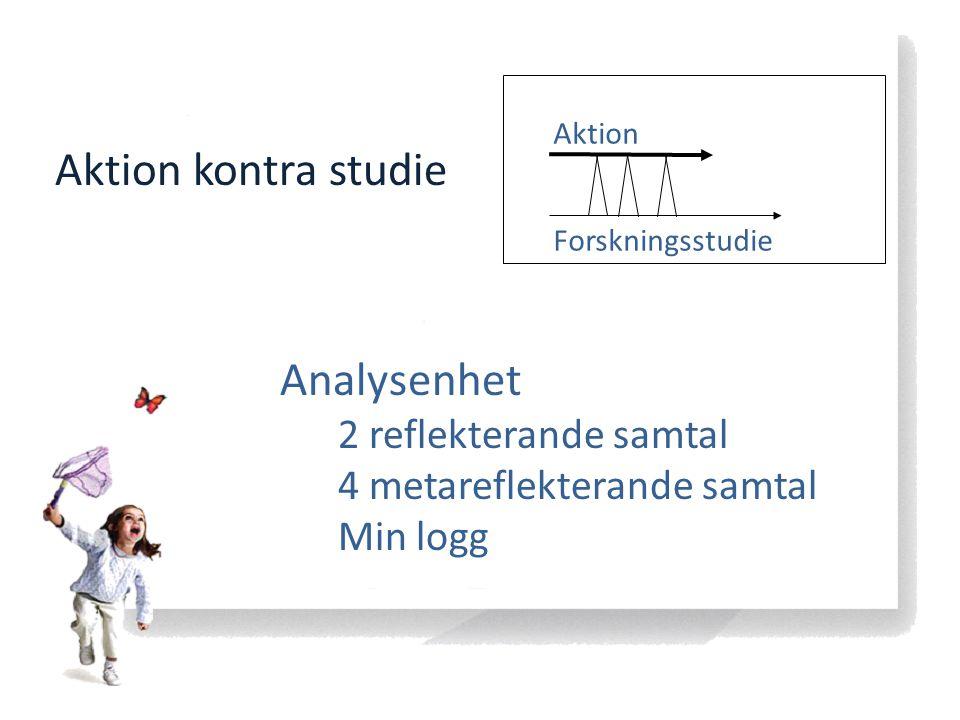 Forskningsstudie Aktion Aktion kontra studie Analysenhet 2 reflekterande samtal 4 metareflekterande samtal Min logg