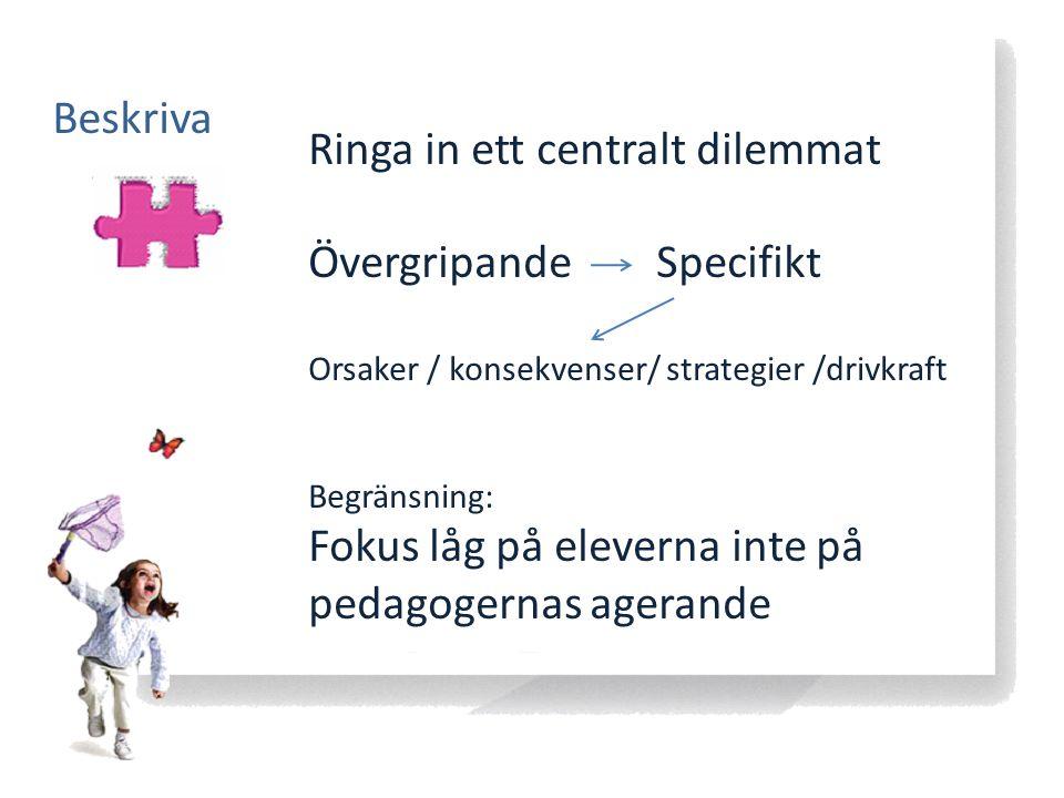 Beskriva Ringa in ett centralt dilemmat Övergripande Specifikt Orsaker / konsekvenser/ strategier /drivkraft Begränsning: Fokus låg på eleverna inte p