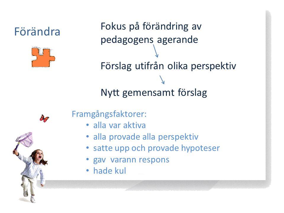 Förändra Fokus på förändring av pedagogens agerande Förslag utifrån olika perspektiv Nytt gemensamt förslag Framgångsfaktorer: alla var aktiva alla pr