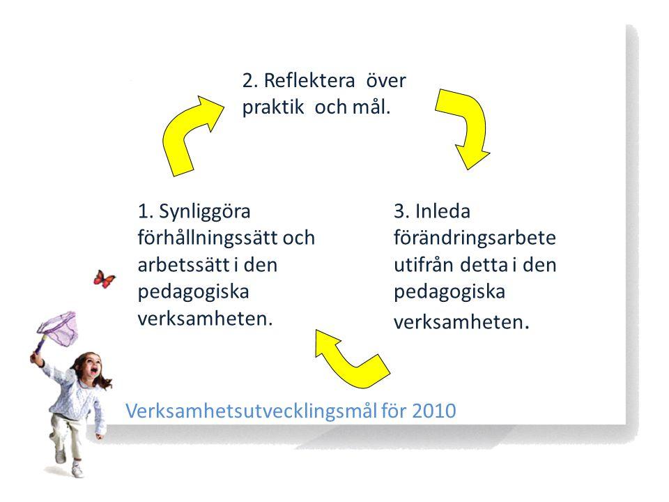 1. Synliggöra förhållningssätt och arbetssätt i den pedagogiska verksamheten. 2. Reflektera över praktik och mål. 3. Inleda förändringsarbete utifrån