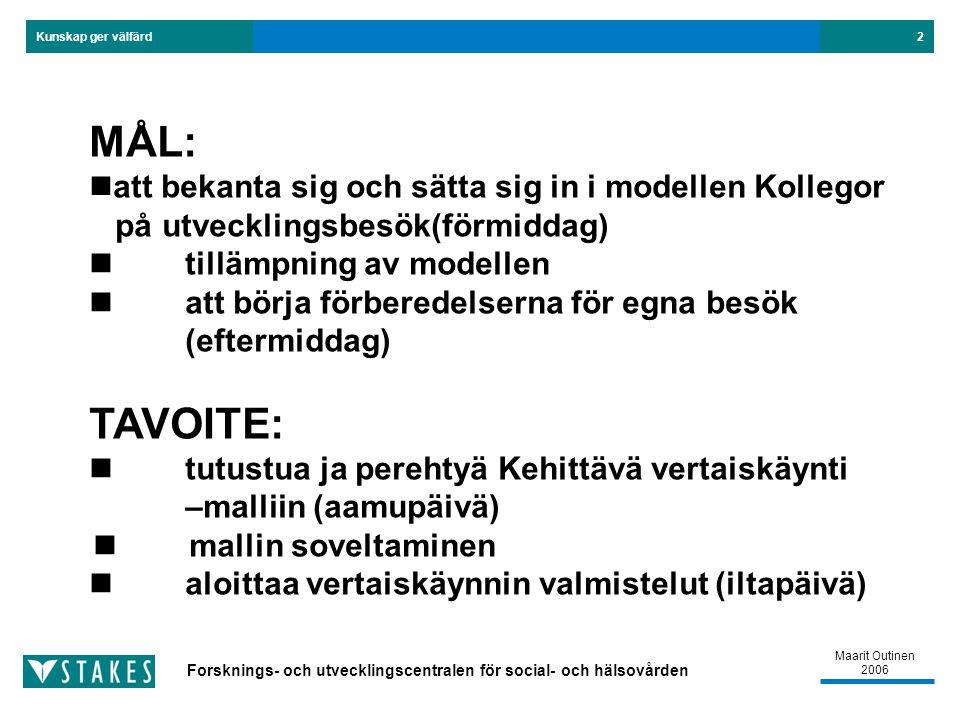 Forsknings- och utvecklingscentralen för social- och hälsovården Kunskap ger välfärd Maarit Outinen 2006 2 MÅL: att bekanta sig och sätta sig in i modellen Kollegor på utvecklingsbesök(förmiddag) tillämpning av modellen att börja förberedelserna för egna besök (eftermiddag) TAVOITE: tutustua ja perehtyä Kehittävä vertaiskäynti –malliin (aamupäivä) mallin soveltaminen aloittaa vertaiskäynnin valmistelut (iltapäivä)